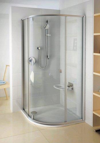 PSKK3-90 negyedköríves zuhanykabin Fehér/Króm+Transparent
