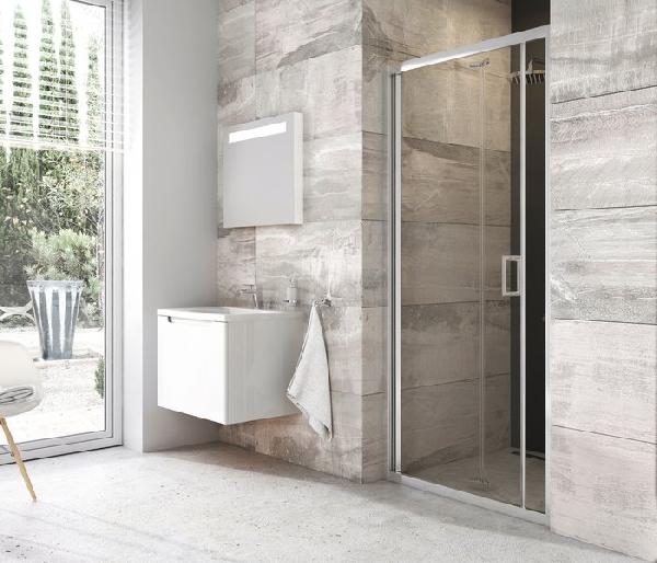 Ravak Blix BLDZ2-70 kétrészes harmónika rendszerű zuhanyajtó, krómhatású+Transparent