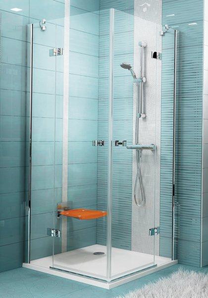 SmartLine SMSRV4-80 Króm+Transparent négyelemes szögletes zuhanykabin emelő zsanérokkal