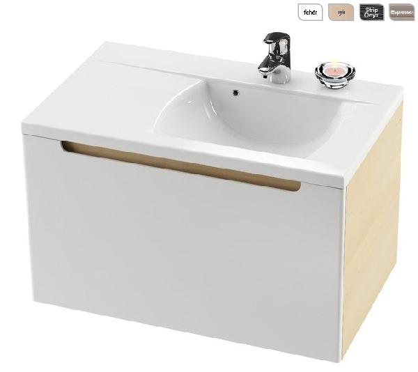 SD 800-bal Classic szekrény a mosdó alá (nyír/fehér) - Kifutó termék (készlet erejéig)