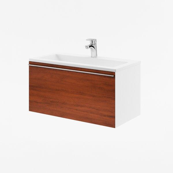 Fürdőszobai szekrény mosdó alá SD 800 Clear fehér/dió